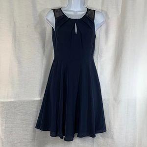 express navy blue dress mesh keyhole